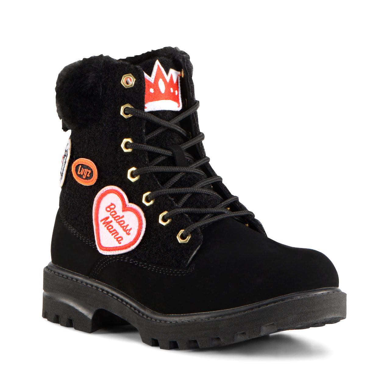 Women's Empire Hi Fur X Scary Mommy (Choose Your Color: BLACK, Choose Your Size: 9.0)